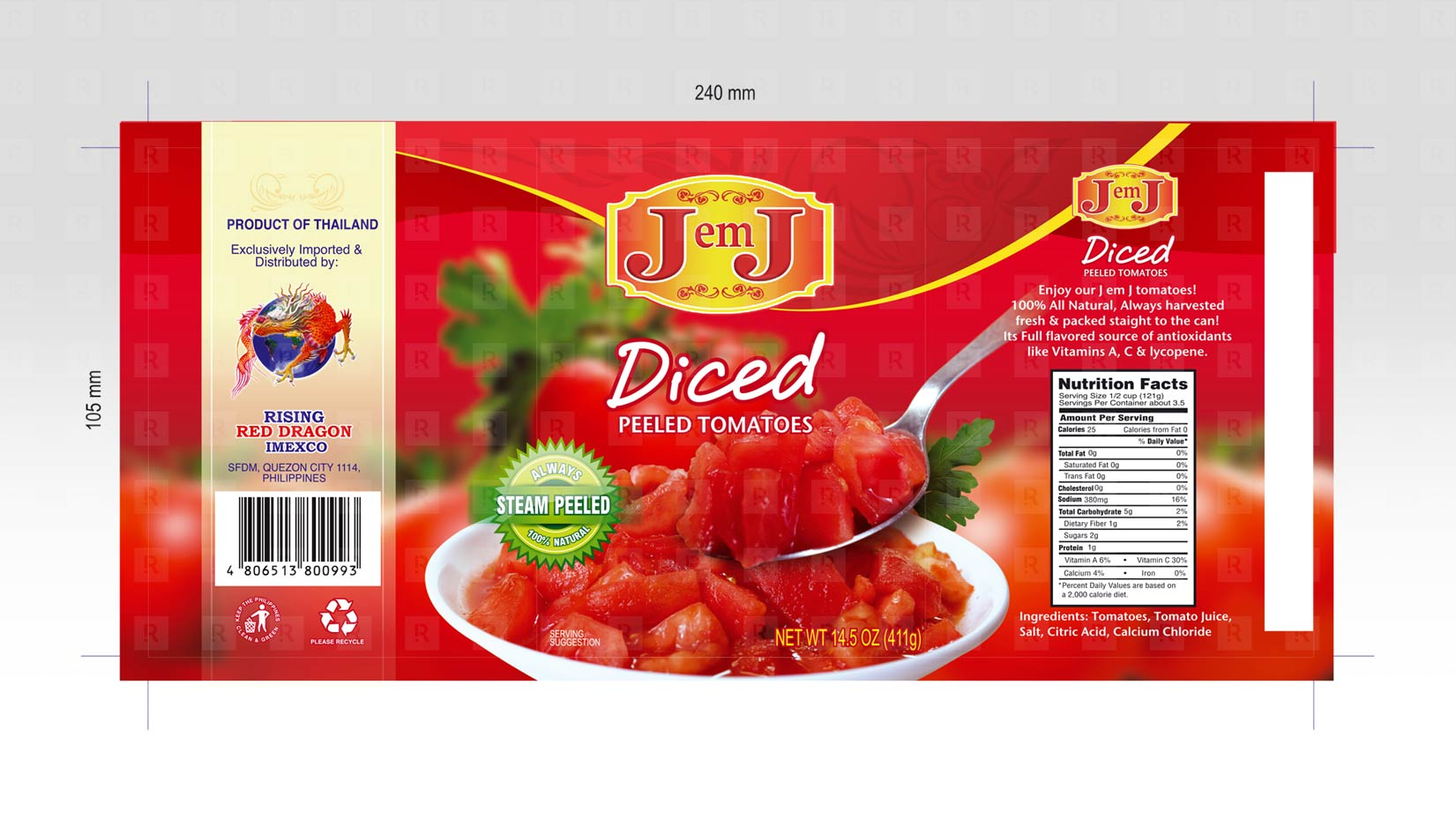 JemJ Diced Tomato Label Design