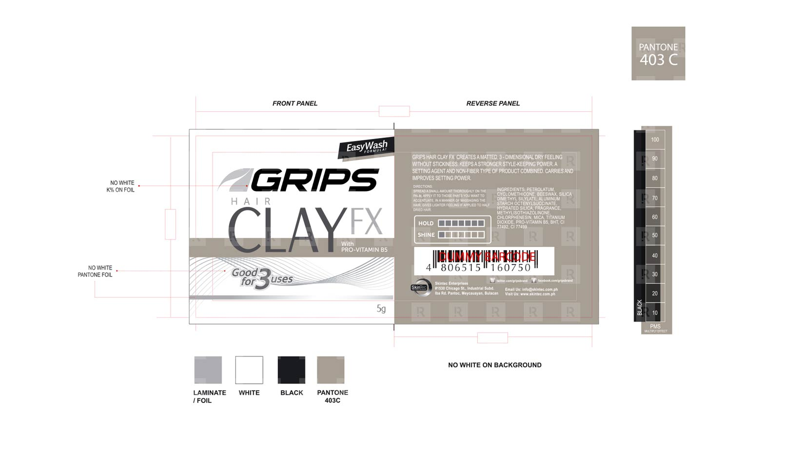 Grips Hair Clay FX  sachet packaging design