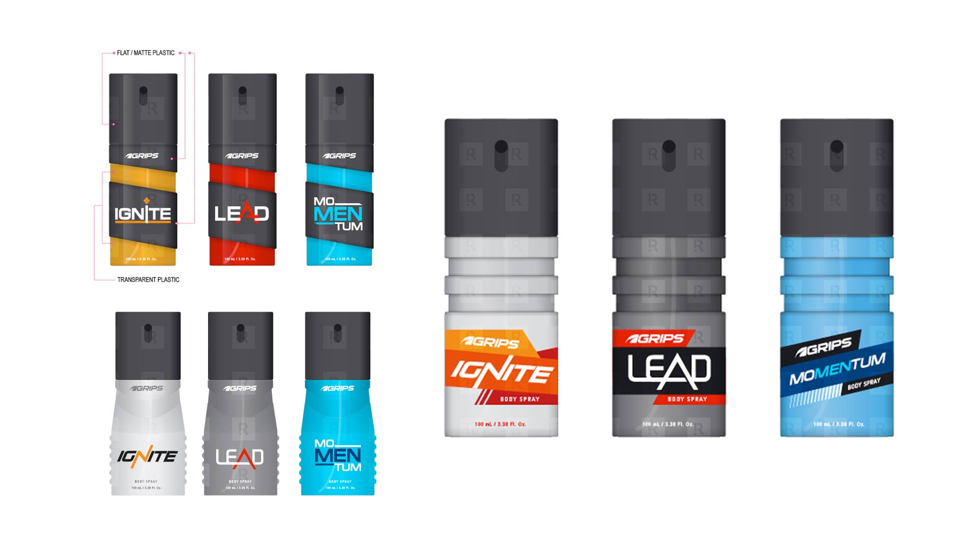 Grips Men Body Spray Packaging Design Studies